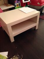 Two Parts onn Shelf White Solid Table.  White Solid Table.