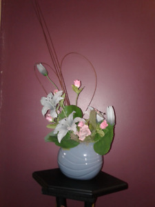 Vase with fabric flowers