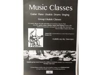 Music Lessons - Piano/Guitar/Ukulele/Drums/Singing/Music Production