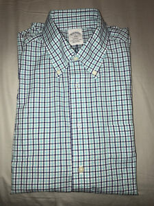 Brooks Brothers - Regent Fit Teal Check Sport Shirt (non-iron)