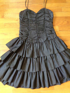BLACK VINTAGE SILK DANCE DRESS - Size M