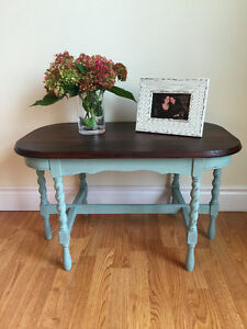 Refinished Two Tone Short Side Table