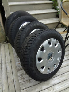 PRICE DROP 4 Pirelli Winter tires on V.W. Rims with Hubcaps