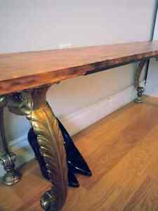 RECLAIMED WOOD BENCH WITH VINTAGE CAST IRON LEGS
