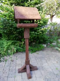 Bird table handmade using reclaimed wood