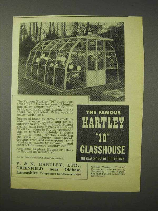 1958 Hartley 10 Glasshouse Ad - Famous