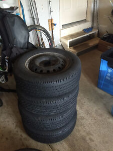 Honda accord 2005ish rims and tires for sale. Rims are basic win