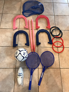 OUTDOOR SPORTS EQUIP - horseshoes, balls, etc