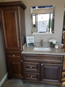 "Wooden 36"" vanity & 18"" linen tower store display"
