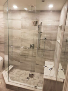 Frameless Glass shower door and mirror
