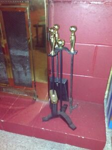 Fireplace Tool Set and Brass Wood holder