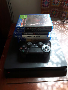 Ps4 slim 500gb, 6 games 1 controller