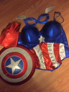 Captain America Costume with Shield, Mask, Wristlets