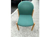 5 green stacking chairs. Delivery