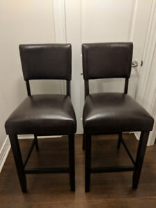 New brown leather bar stools (set of 2)