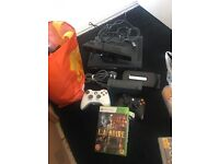 Xbox 360 with Kinect,2 wireless controllers 120gb hard drive