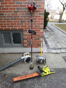 Lawn Equip, Leaf blower, Trimmers, Soil cultivator,