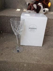 4 CRYSTAL WINE GLASSES IN BOX FROM BOWRING(BOHEMIA)