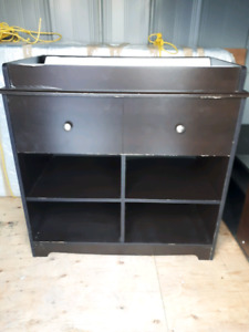 Dark Wood Changing Table With Change Pad