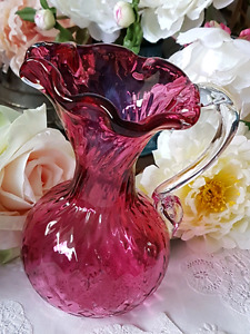 CRANBERRY VASE AND/OR EWER WITH APPLIED CLEAR HANDLE