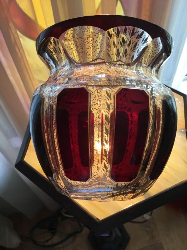 Vintage Moser Art Glass Vase With Ruby Panels And Filagree Gilt Decoration