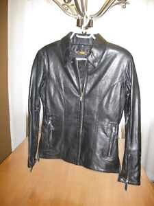 Black Leather (Motorcycle) Jacket - Ladies Size Small