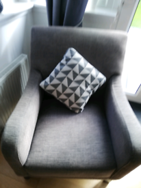 Sold DFS grey fabric armchair