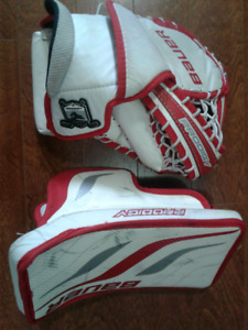 BAUER PRODIGY YOUTH GOALIE GLOVE AND BLOCKER
