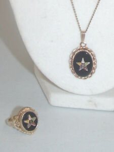 Antique Eastern Star Ring and Necklace 14K Rolled Gold Plate