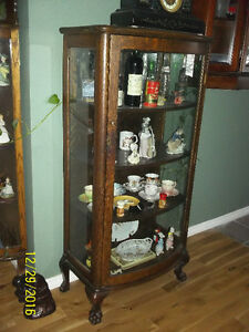 2 antique glass display cabinets