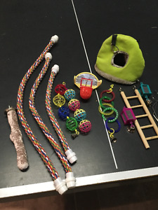 assorted bird toys lightly used