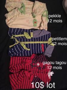lot de 3 pyjamas 12 mois 10$