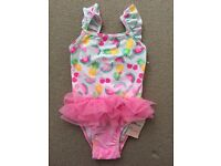 Mothercare girls pink swimming costume 12-18months