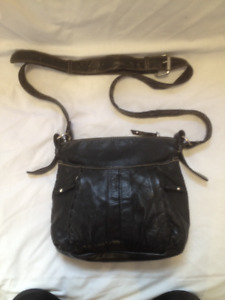 Genuine All Leather Black Cross Body Purse by Naturalizer
