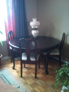 antique table and 3 chairs