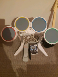 Rock Band Drum Kit and Guitar