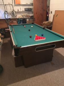 Pool Table with detachable ping-pong table top.