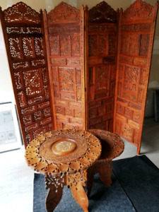 Antique carved rosewood partition room devider and tables