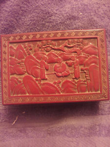QING DYNASTY CINNABAR BOX GOOD CONDITION VERY RARE !