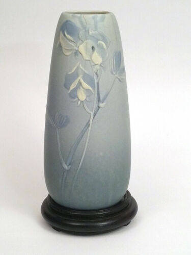 Early 1900s Antique Blue Matt Weller Ware Art Pottery Vase. Arts And Crafts.