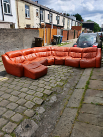 Leather corner sofa with chais long