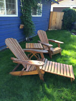 adirondack chairs and table - pine