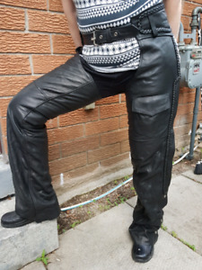 Womes leather motorcycle chaps