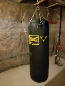 Everlast heavy bag setup + brand new gloves