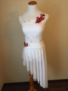 Stunning White Lyrical or Contemporary Dance Costume Adult Small