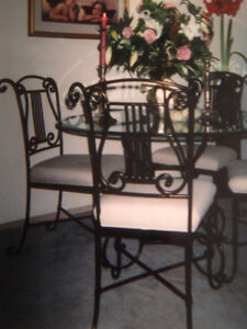 Beveled Glass Dining Table with Chairs