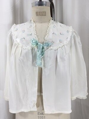 Vintage 1930's White Rose Embroidered Lace Bed - Embroidered Bed Jacket