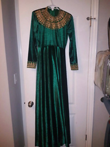 Green and gold velvet prom dress / evening gown with train