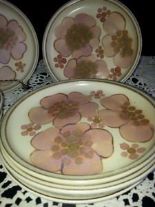 Seven Denby Gypsy Bread and Butter Plates