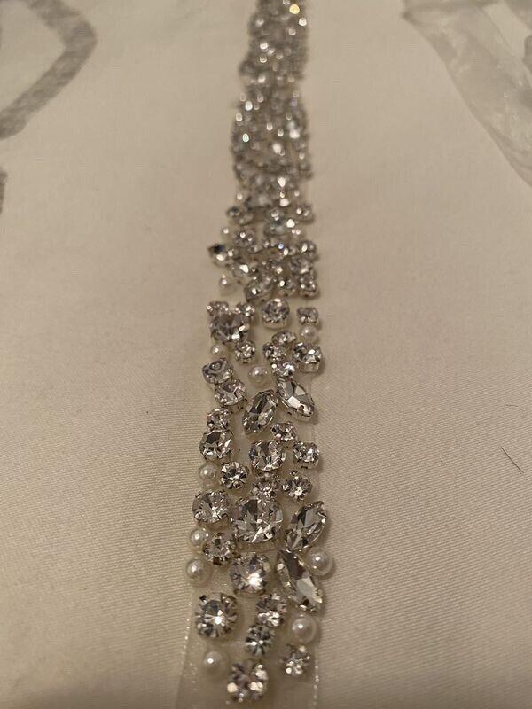 Diamond and pearl wedding dress belt